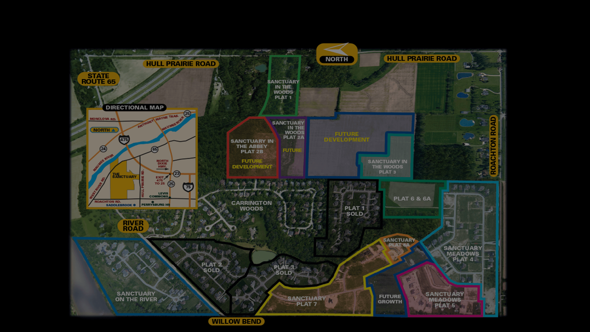 New Home Community Map of the Sanctuary in Perrysburg Ohio. Land for building new homes in Perrysburg, Ohio.